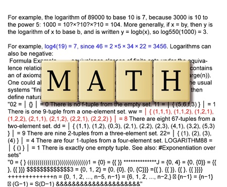 derivation: Mathematics formulas and crossword puzzle tile forming math  Stock Photo