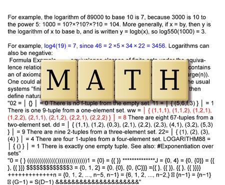 scalar: Mathematics formulas and crossword puzzle tile forming math  Stock Photo