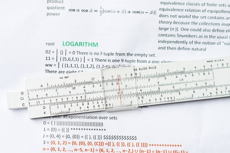 logarithm: Logarithm ruler with logarithm definition background