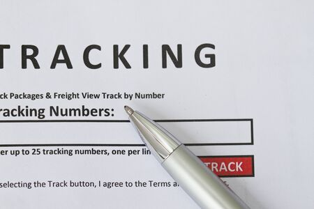 tracking: Tracking form, put tracking number in the blank space provided. Stock Photo