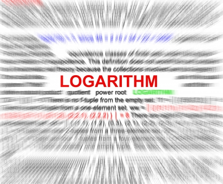 logarithm: Logarithm word radial blur in a white background.