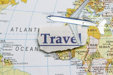 gabon: Travel newspaper cut out  in a map Stock Photo