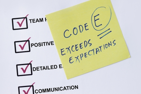 exceed: Exceed expectation checklist with evaluation remarks and sticky notes.