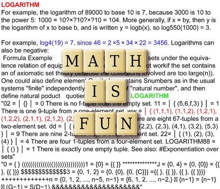 logarithm: Math is fun abstract - with crossword puzzle illustration tile. Stock Photo