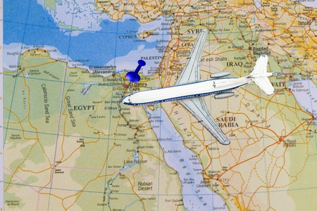 cairo: air travel in Egypt with airplane toy and push pin Stock Photo