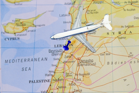 beirut lebanon: Trip to Lebanon concept with push pin and toy airplane  Stock Photo