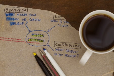 Mission statement sketch on a napkin abstract
