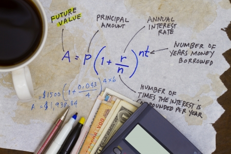 Investment formula with interest value in due time  photo
