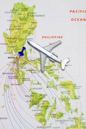 push pin pointing at Manila, Philippines  photo