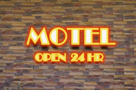 vacant sign: Red motel and 24 hr  neon sign