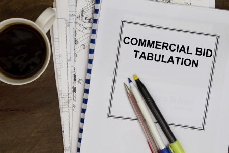 tabulation: Commercial bid tabulation complete with plans and morning coffee