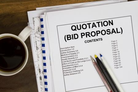 bid: Presupuesto base de licitación propuesta por abstracta vendedor. Foto de archivo