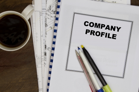 vendors: Company profile with coffee and blueprint plans.