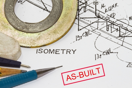compas de dibujo: Juntas y diagrama isométrico con los planes antiguos