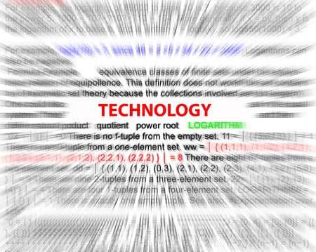 derivation: Technology radially blurred with focus on the word technology. Stock Photo