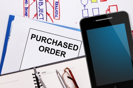procurement: Purchased order , business graphs and business plan Stock Photo