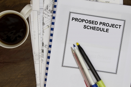 order shipment: Proposed project schedule complete with plans and morning coffee