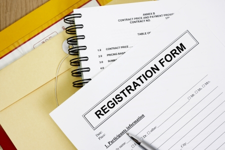 registration: Blank registration form abstract with manila envelop  Stock Photo