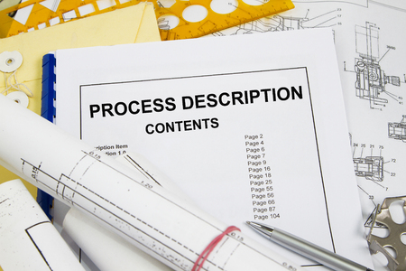 manila envelop: Process description brochure with blueprint and pencil
