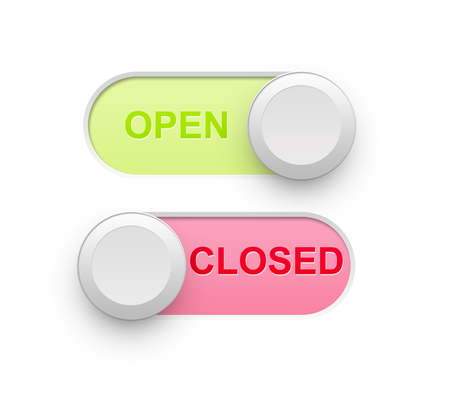 open closed 3d toggle switch position isolated in white  photo