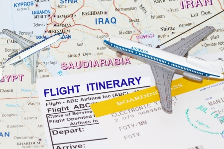 itinerary: Trip to middle east with plane and flight itinerary Editorial