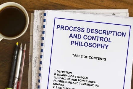 manila envelop: Process description and control philosophy abstract with coffee  Stock Photo