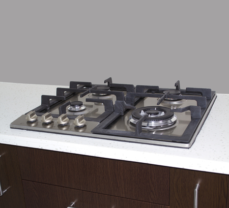 Gas stove close up shot with gray color wall backgound  Stock Photo - 22932864