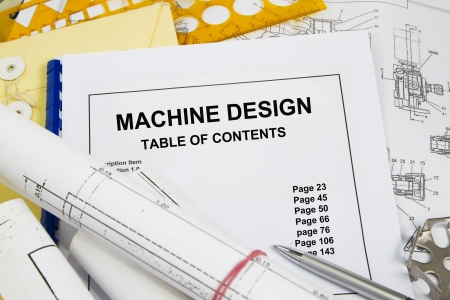 manila envelop: machine design guide brochure with blueprint and pencil