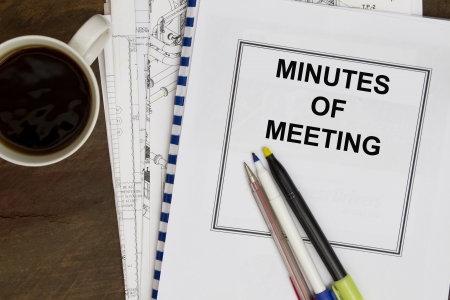 engineering drawing: Minutes of meeting with coffee and engineering drawing  Stock Photo