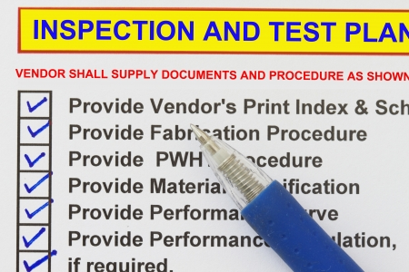 gas ball: Inspection test plan  checklist- many uses in the oil and gas industry.