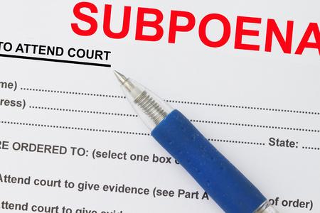 subpoena: Close up picture of  Subpoena  form with pen.