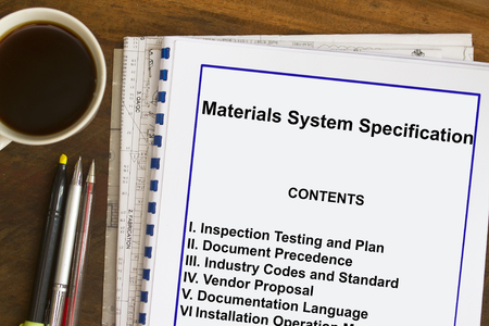 Materials System Specification with coffee , documents and ball pen. Stok Fotoğraf - 80033025