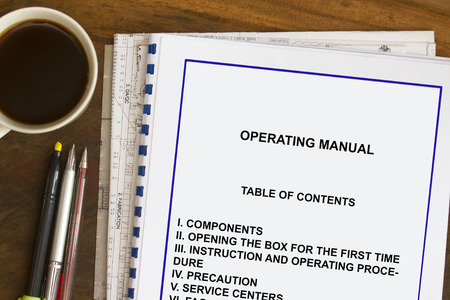 Instruction and operating manual  with coffee and documents