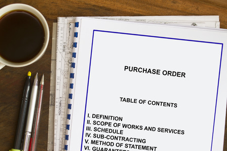 Contract cover sheet , contents with coffee and documents Stock Photo