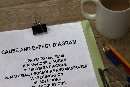 Cause and effect diagram with contents in a cover sheet.