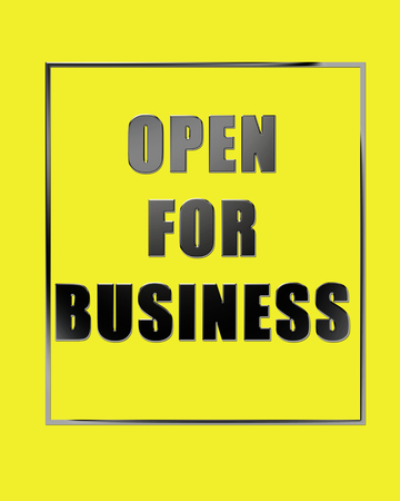 nameplate: Open for business concept- template for opening a business