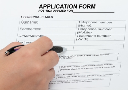 autograph: Concepy of an application and personal details  blank form Stock Photo