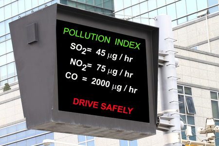 to warn: Air pollution index in a roadsign electronic screen- many uses in environment and pollution control.