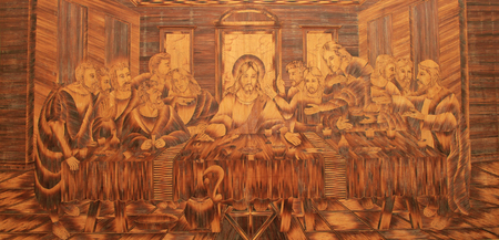 Intricate wood tiles depicting Jesus last supper - religion relics. Zdjęcie Seryjne