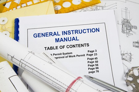 General Instruction manual guide brochure with blueprint and pencil