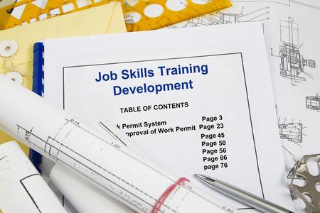 competencias laborales: Job skills training  development- many uses in the oil gas industry Foto de archivo