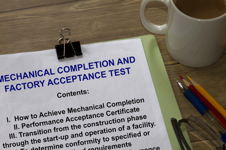 Acceptance Test and completion test - many uses in the oil and gas industry. Stock Photo