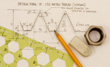 ボルトとナットのコンセプト - スケッチとスレッド デザインの次元のデザイン。 写真素材