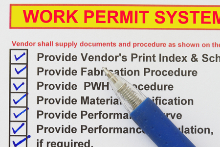 Work Permit System  checklist- many uses in the oil and gas industry. Stock Photo