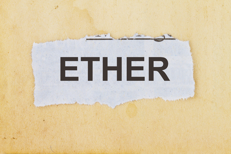 subjective: Ether newspaper cutout in an old paper background concept Stock Photo