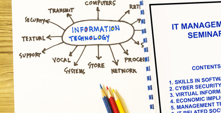 Information technology training and seminar- with cover page and workflow. Stock Photo