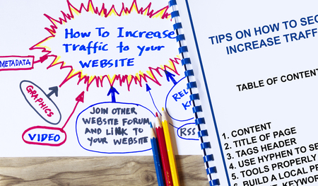 Tips on how to increase traffic to your website concept. Stok Fotoğraf