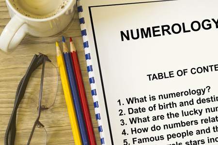 How numerology affect destiny concept- with contents od a ledture cover sheet. Stock Photo