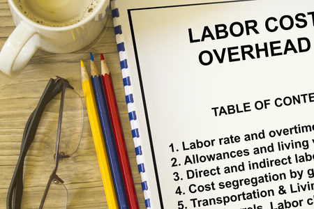 Labor cost and overhead cost- concept for labor cost rates and expenditures.