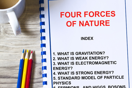 Four forces of nature lecture- pure particle physics concept. Фото со стока